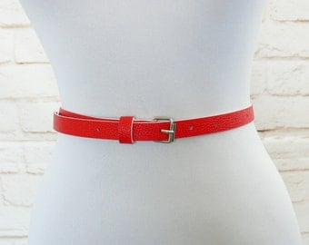Vintage 80s Red White Skinny Thin Belt Faux Leather M L XL 27-34""