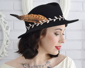 Vintage and Upcycled Black Wool Hat with Fabric Feather and Pale Peach Leaf Trim