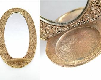 Gold Oval Wall Mirror Tray // Hollywood Regency Bedroom Bathroom Hall Decor