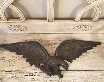 Large Vintage Metal Eagle - Flag or Wall Eagle - Rustic, Weathered Patina - Patriotic, Cabin Decor