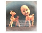 Creepy Cute Photography Print, Plastic Deer with Vintage Doll Head, Weird Christmas Decor, Strange Art