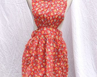 Vintage 1940's Red Floral Pinafore Apron
