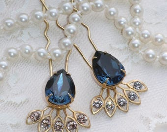 NEW Navy Sapphire Blue Crystal Hair Fork,Golden Bridal Hair Stick,Swarovski Rhinestone Crystal,Champagne or Crystal Clear,Jeweled Hair Pin