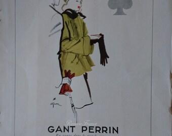 Original Vintage French Fashion Ad Gants Perrin 1945  Rene Gruau