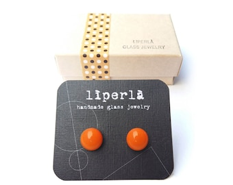 Tangerine glossy Glass Earrings Studs