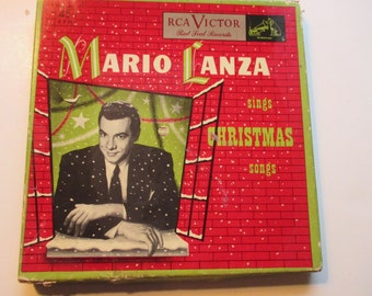 Mario Lanza Sings Christmas Songs Recordings Four Record Set 45 RPM RCA Victor Red Seal Records Silent Night Guardian Angels Boxed Sets
