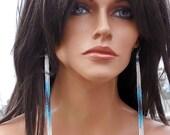 Extra Long Earrings - 6.50 Inch Long - White Blue Earrings - Tassel Fringe  - Shoulder Duster Earrings - Lightweight Seed Bead Earrings