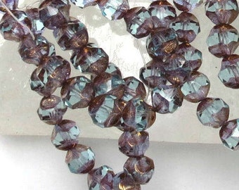 Transparent Aqua with Copper Picasso - Faceted - 8mm Czech Glass Central Cuts- 15 Beads