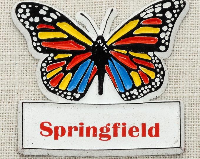SPRINGFIELD Vintage Butterfly Magnet Illinois Massachusetts Ohio Travel Tourism Gift Made in USA America Fridge Rainbow Locker School 5S