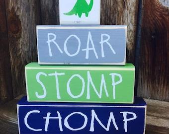 ROAR, STOMP, CHOMP, Dinosaur blocks, Boy nursery shelf sitter blocks stacker set-vinyl lettering, Rawr Means I love you