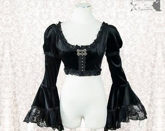 Bolero Victorian, black velour shrug, gothic, goth, Somnia Romantica, approx size medium, see item details for measurements