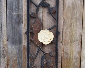 Vintage Cast Iron Panel Rose Trellis Door Gate Section Black Cream Rust Salvage Piece Roses Leaves Upcycle Repurpose Garden Decor Wall Art