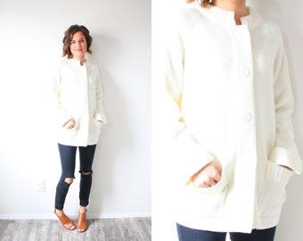 Vintage cream 1950's knit sweater // off white cream knit cardigan // oversized sweater // cable knit sweater // button down XS small jumper