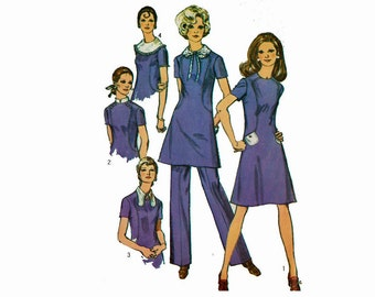 Dress in 2 Length with Detachable Collars and Pants Uncut 1970 Vintage Sewing Pattern Simplicity 9076