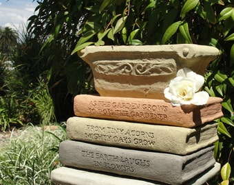 LIBRARY PLANTER - Solid Stone Book Saucers w/ Herb Box Container - Many Titles to choose from. Variety of colors. Super Creative Gift