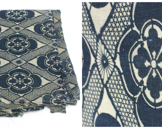 LARGE Antique Japanese Katazome Textile. Handwoven Cotton. Natural Indigo Stencil Dyed Folk Fabric  (Ref: 1592)
