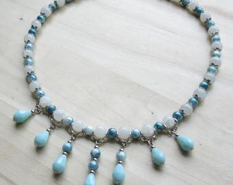 Dangling drops necklace teal blue