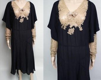 Vintage 1920s Dress // 20s Dress // Roaring 20s Dress //Flapper Dress//Art Nouveau//Black Silk Bishop Sleeves//
