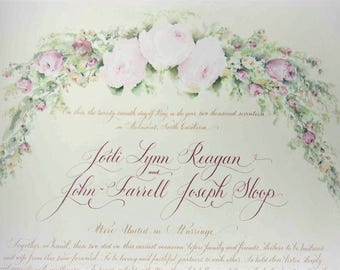 Marriage Certificate with guest signature lines.  Guest book alternative.  Quaker Certificate.
