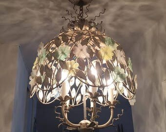 1950's Italian Gilt Chandelier, Tole Leaves with Glass Flowers