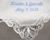 Personalized Wedding Handkerchief  Something Blue for Bride Wedding Hanky Gift H9102c
