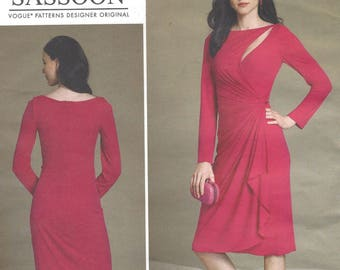 Bellville Sassoon Mock-Wrap Cutout Dress Stretch Knit Cocktail Dress Vogue Sewing Pattern V1514 Size 14 16 18 20 22 Bust 36 38 40 42 44 FF