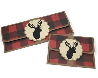 Christmas money envelope, Father's Day gift card holder, gift card holder, cash envelope, birthday card, lumberjack envelope, money holder