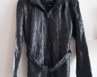 Black Leather Patchwork Jacket size L