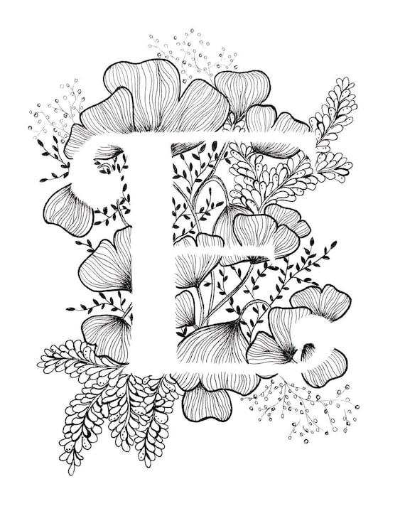 Letter e print alphabet calligraphy typography monogram