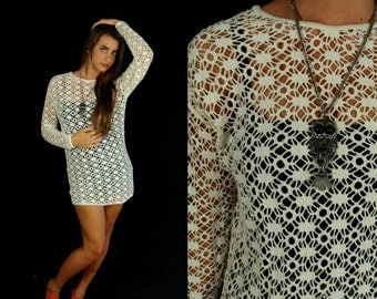 vtg 80s cream CUT OUT fishnet TUNIC avant garde Small sheer top shirt indie unique sweater boho