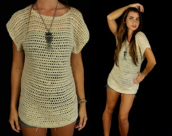 vtg 80s beige SHEER cut out Soft KNIT TOP Small skinny fitted hand knit tunic indie tan neutral unique sweater boho