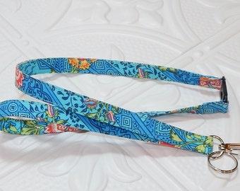 Fabric Lanyard - Breakaway Lanyard -  ID Badge Holder - Blue Print