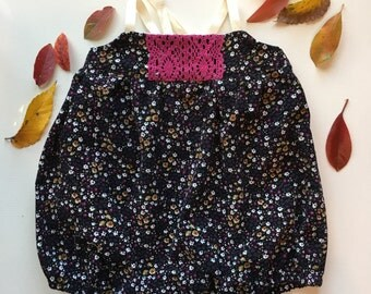 Fall/Winter Floral Corduroy Eleanor Bubble - Handmade w/Embroidery