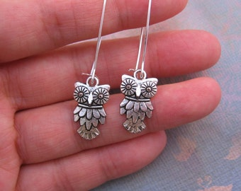 On Sale ! Owl Earrings - Antiqued Silver Owl Charm Earrings - Your Choice of Long Kidney Earwires or Hook Earwires, jingsbeadingworld