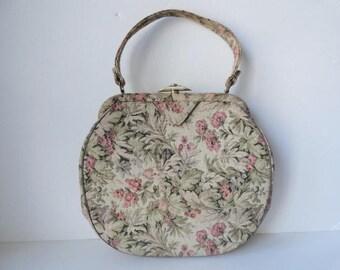 Vintage Tapestry Top Handle Handbag  Extra Large Cream Tapestry Purse  Pink Mint  Green Floral Renaissance Handbag  Mint Green Leather Trim