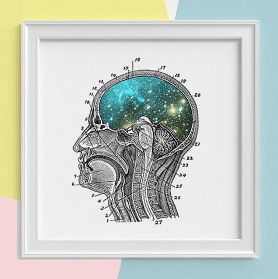 Galaxy Brain Print wall art Human anatomy print Science student gift Cosmic art print Universe and galaxy prints SKA112SQ1