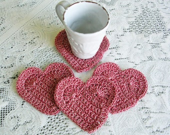 Red White Heart Drink Coasters- Crochet Coasters - Crochet Heart Coaster Set  - Cottage Chic - Cottage Style Home Decor - Rustic Decor