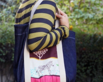 Denim tote bag with zebra pocket, daily commuter large size tote bymamma190. Ready to ship.