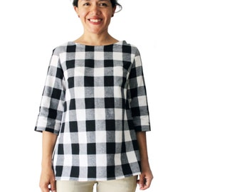 Woman blouse, woman shirt, woman top, buffalo checkers shirt, black and white, boat neck top, boat neck gingham blouse, sustainable clothing