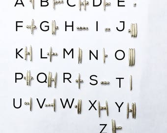 Morse Code Initial Earrings - sterling silver