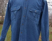Vintage Mens Cabela's Flannel Stonewash Shirt Size Medium Made With Heavy Weight Cotton Retaining Maximum Warmth Color Antique Blue