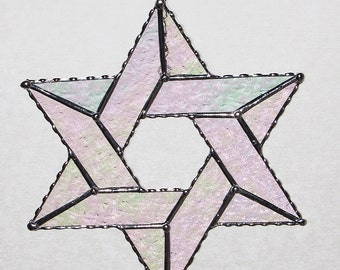 Stained Glass - Star of David, Iridescent Clear Textured Glass, Decoration