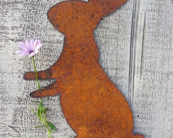 Metal Bunny Rabbit Rusty Metal Garden Art Easter Rusty Plasma Hand Cut Metal Art