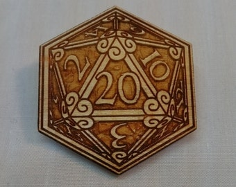 D20 Token Laser Cut & Engraved Wood Pin