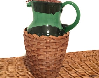 Vintage Emerald Green Reed Covered Pitcher/Carafe Japan