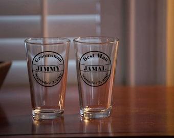 Wedding party pint glasses, Personalized Groom, Groomsmen glasses, Groomsmen. Best man gift. Bachelor Party glasses, Best Man Tux