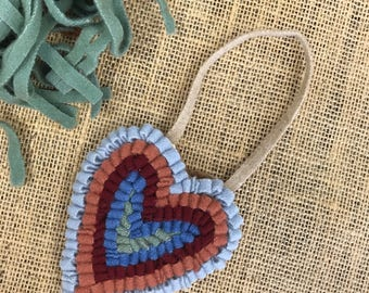 Free Shipping to USA - Handmade Hooked Rug Ornament - Small Blue Primitive Heart