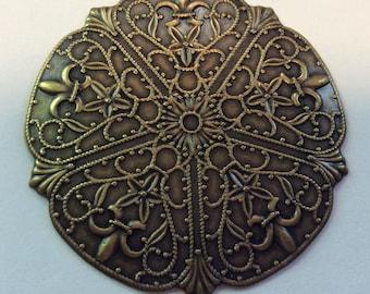 "Vintage Art Nouveau Antique Brass 2"" Round Filagree Finding QTY - 2 ONLY LOT"