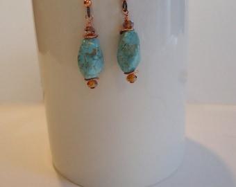Turquoise Earrings, Turquoise Copper Earrings, Turquoise Czech Glass Earrings