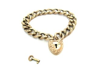 Gold Fill Padlock Heart Bracelet. Antique Victorian Jewelry. French Murat Style Embossed Curb Chain. Repousse Puffy Heart Charm & Key. Bonus